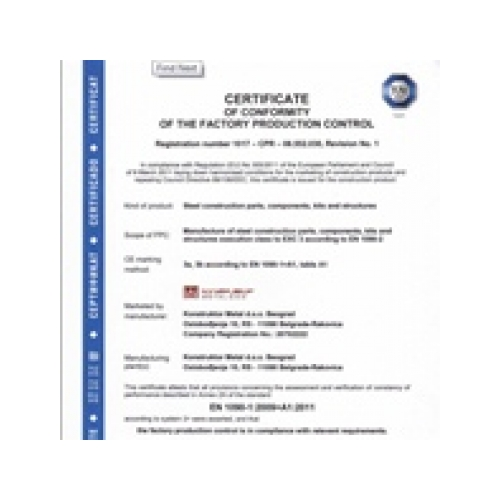 Certificate of conformity of the factory production control, KMetal
