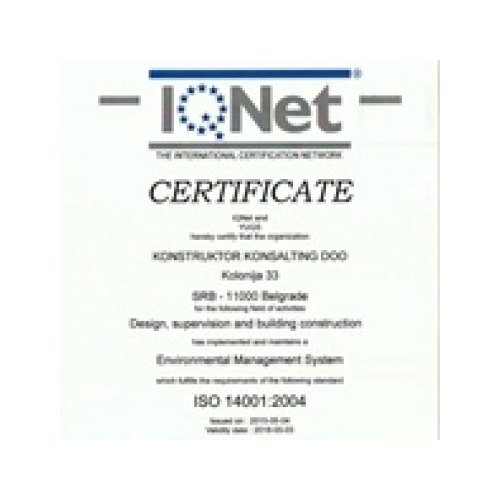 IQnet certificate for environmental management system, KKonsalting